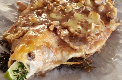 Форель речная с сырной корочкой из сыра Милкана Камамбер Ле Кремье